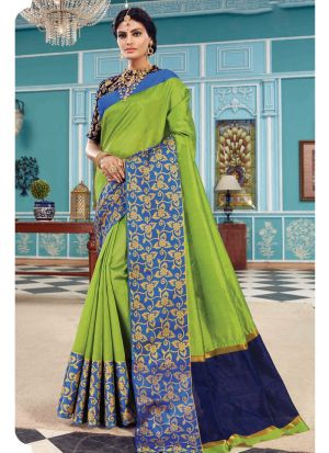 Crystal Silk Lime Green Festive Wear Indian Traditional Saree