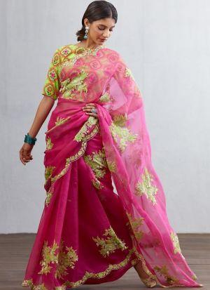 Cutdana Work Pink Thread Work saree