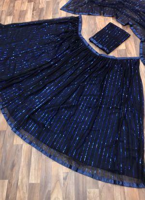 Dark Blue Zara Chiffon Lehenga Choli