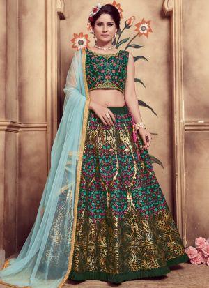 Dark Green Color Multi Rubber Foil Work Silk Designer Lehenga Choli