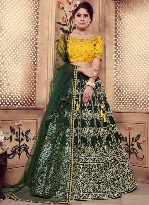Dark Green Color Rubber Foil Work Silk Designer Lehenga Choli