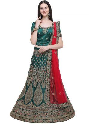 Dark Green Designer Exclusive Bridal Lehenga Choli
