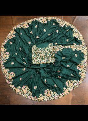 Dark Green Dola Silk Festive Saree