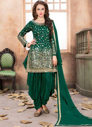 Dark Green Mirror Work Aanaya Latest Trendy Punjabi Suit