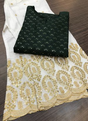 Dark Green Pc Cotton Top With Palazzo