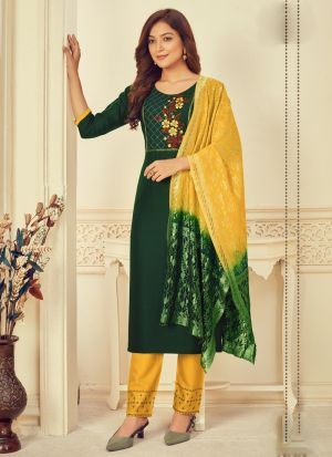 Dark Green Rayon Embroidery Suit