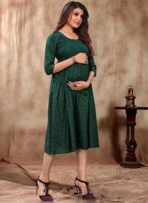 Dark Green Rayon Kurti For Maternity