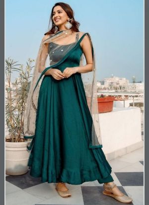 Dark Green Taffeta Silk Salwar Suit
