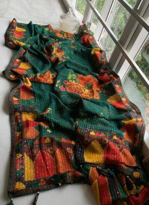 Dark Green Vichitra Silk Printed Saree