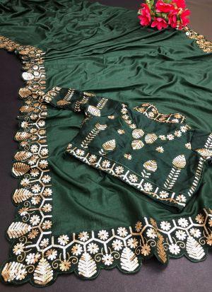 Dark Green Vichitra Silk Saree