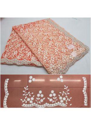 Dark Peach Color New Launching Nylon Heavy Net Saree Collection