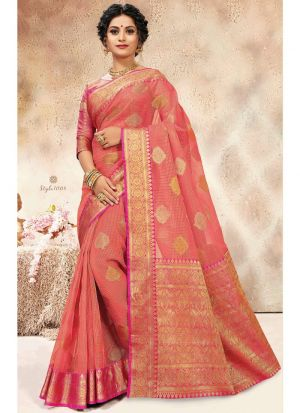 Dark Peach Designer Banarasi Kora Silk Saree Collection