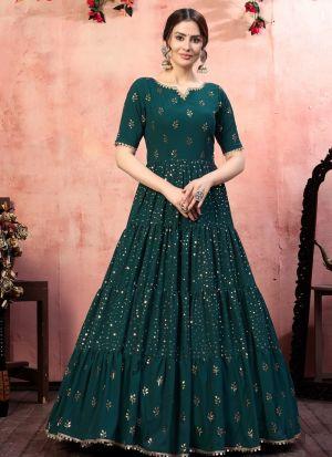 Dazzling Dark Green Georgette Gown