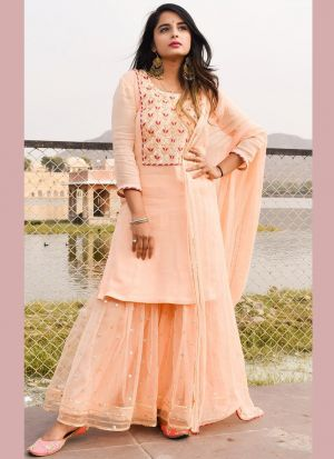 Dazzling Peach Sequence Work Suit Style Lehenga Choli