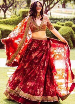 Dazzling Red Printed Silk Lehenga