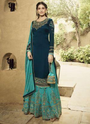 Dazzling Teal Blue Satin Georgette Salwar Suit