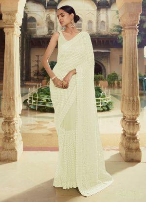 Dazzling Thread Work Off White Saree