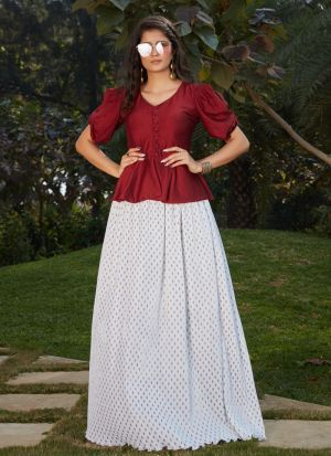 Dazzling White Printed Skirt With Top