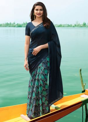 Deep Ocean Blue Georgette Beautiful Printed Saree