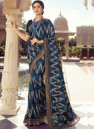 Deep Ocean Blue Kanjivaram Silk Printed Stylish Saree