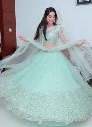Deepika Singh Sea Green Net Lehenga Choli