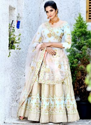 Delightful Baby Blue Malbari Silk Designer Lehenga Choli For Party