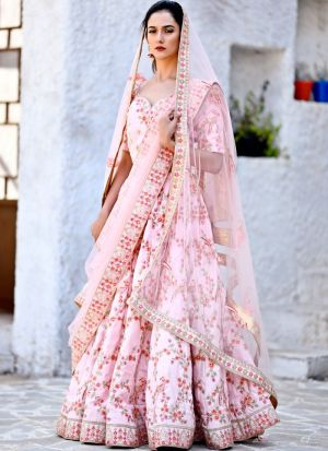 Delightful Flamingo Pink Chennai Silk Designer Lehenga Choli For Party