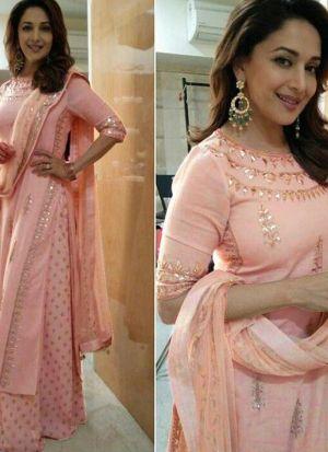 Delightful Madhuri Dixit Peach Georgette Palazzo Suit