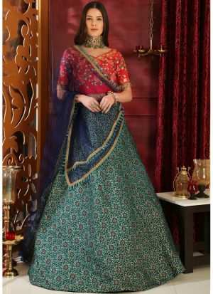 Delightful Multi Color Jacquard Designer Lehenga Choli With Net Dupatta