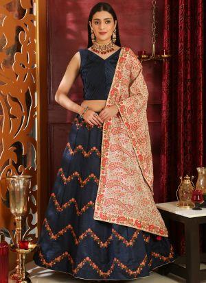 Delightful Navy Silk Designer Lehenga Choli With Georgette Dupatta