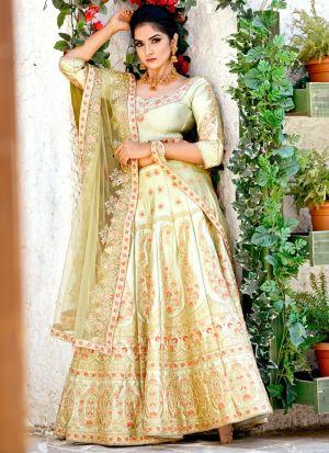 Delightful Olive Green Malai Satin Designer Lehenga Choli For Sangeet Ceremony