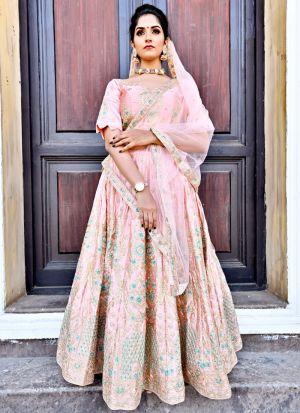 Delightful Orange Malai Satin Designer Lehenga Choli For Sangeet Ceremony