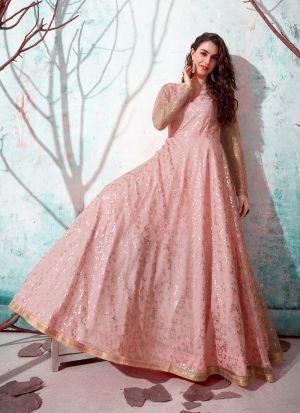 Delightful Pink Net Metalic Foil Gown