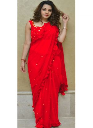 Demanded Red 60 Gm Georgette Saree With Fancy Thread Work