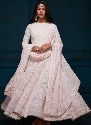 Designer Baby Pink Georgette Anarkali Suit