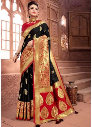 Designer Beautiful Black Crystal Silk Saree
