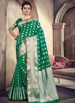 Designer Beautiful Green Soft Silk Saree