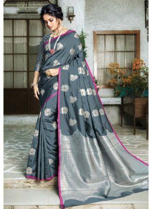 Designer Beautiful Grey Paper Silk Saree