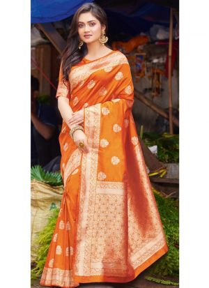 Designer Beautiful Light Orange Pure Silk Saree