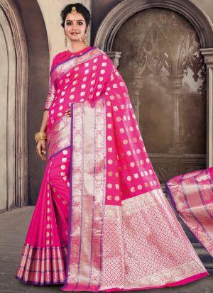 Designer Beautiful Light Pink Soft Silk Saree