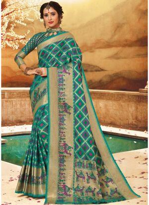 Designer Beautiful Multi Color Pure Handloom Silk Saree