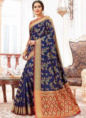 Designer Beautiful Navy Heavy Banarasi Silk Saree