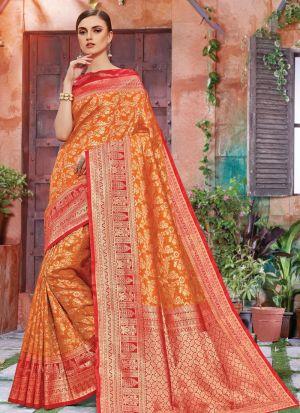 Designer Beautiful Orange Banarasi Crystal Silk Saree