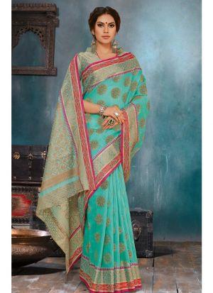 Designer Beautiful Rama Soft Linen Silk Saree