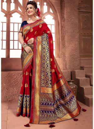 Designer Beautiful Red Crystal Silk Saree
