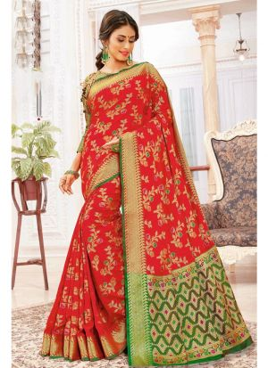 Designer Beautiful Red Heavy Banarasi Silk Saree