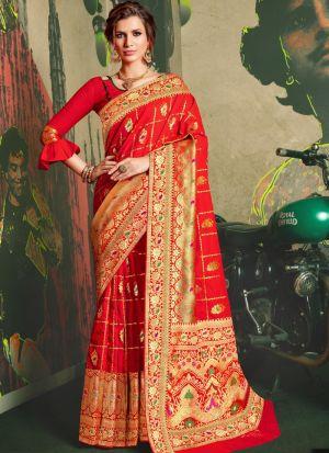 Designer Beautiful Red Jacquard Silk Saree