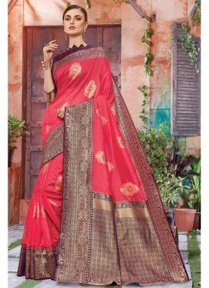 Designer Beautiful Salmon Pink Banarasi Crystal Silk Saree