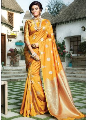 Designer Beautiful Yellow Paper Silk Saree
