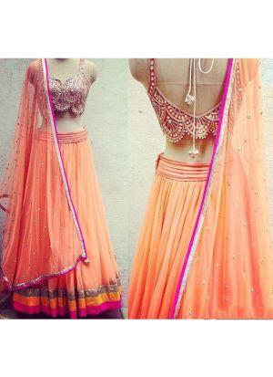 Designer Bemberg Georgette Peach Color Partywear Lehenga Choli